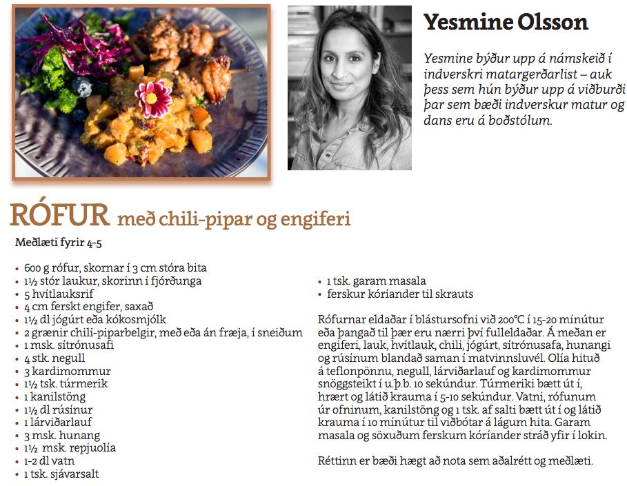Rófur með chili og engifer - Yasmine Olsson